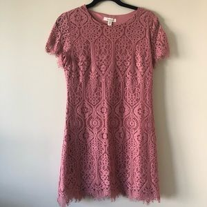 Francesca's Pink Lace Mini Dress